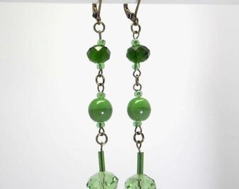 Earrings Crystal, glass green, bronze - coloured Collection