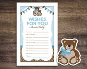 Instant Download Teddy Bear Theme Baby Shower Wishes for Baby Game Cards, Printable Party Sheets for Boy, Brown Blue Bunting Flags #42A