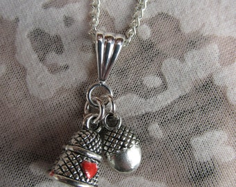 Peter Pan and Wendy Thimble and Acorn Kiss Necklace