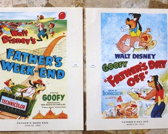 Vintage MINI Disney Movie Posters, Mint Condition, Walt Disney - Goofy in Father's Day Off and Father's Weekend ~ 4 Mini Disney Posters
