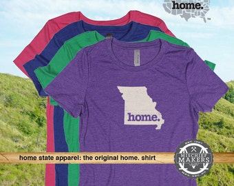 Missouri Home. T-shirt- Womens Red Green Royal Pink Purple