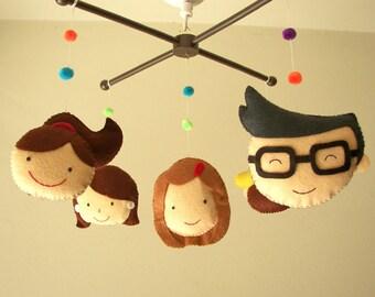 "Baby crib mobile, family mobile, person mobile, felt mobile, nursery mobile ""No.1 Family"""