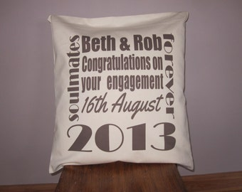 "Personalised Engagement Cushion Cover 18"" x 18"""