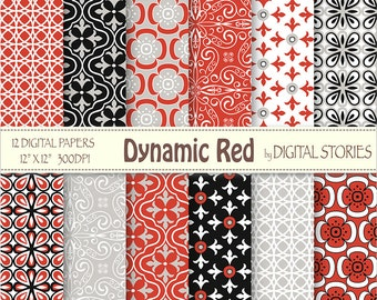 Red Black Gray Retro Digital Scrapbook Paper Pack - Dynamic Red
