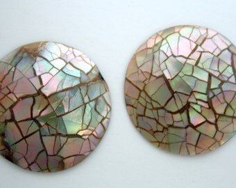 2 Abalone Chip Cabochons - Wood Dome - 25 mm