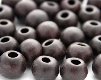 5 Mykonos Greek Matte Ceramic Beads in Dark Brown - 12 mm