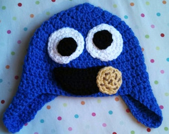 Handmade Crochet Baby Toddler Cookie Monster Earflap Hat
