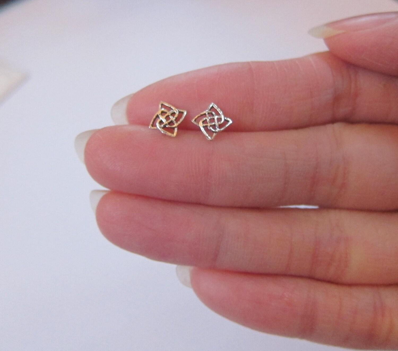 Sterling Silver Celtic knot Stud Earrings Cartilage Earring