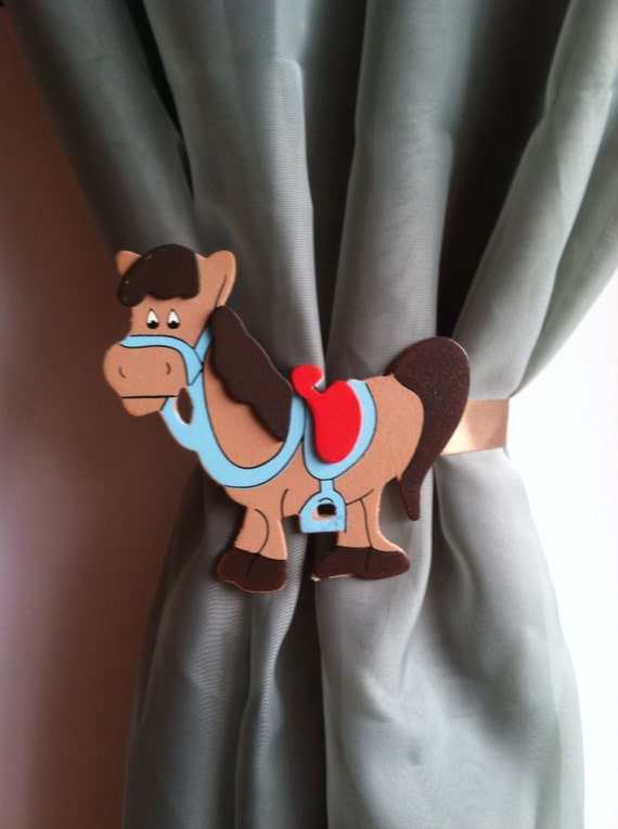 Nursery curtains tie back : To horse curtain tie back - country nursery decor baby room ...