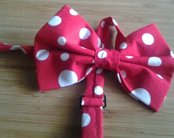 Red and White Polka Dot Bowtie