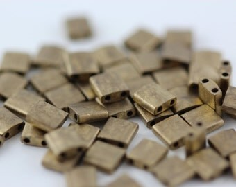 Dark Bronze Metallic Matte (TL2006) 5x5mm square with (2) 0.8mm holes. Tila bead. You choose quantity
