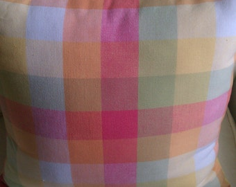 Pastel Multicolor Checked Decorator Throw Pillow