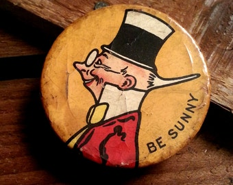 Antique Sunny Jim 'Be Sunny' Pin Back - Antique Celluloid Pin Back Premium