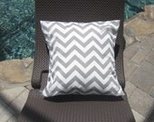 Set of 2 Grey and White Chevron Outdoor/Indoor Pillow Covers