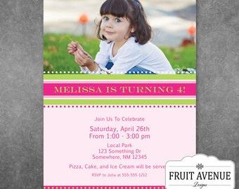 Girls Birthday Party Invitation with Photo - Printable