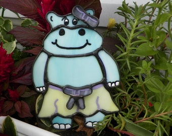 Hippo, Stained Glass, Sun Catcher, Nightlight, Custom Made, Hand Made