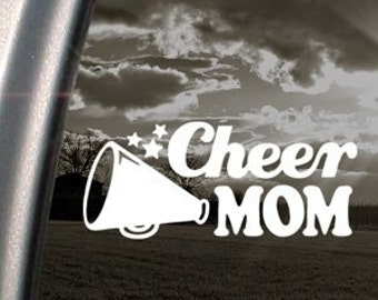 "Cheer Mom School Cheerleader Mom 6.5"" Vinyl Decal Widow Sticker for Car, Truck, Motorcycle, Laptop, Ipad, Window, Wall, ETC"