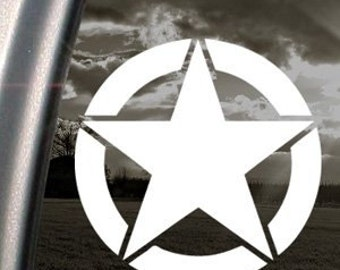 """WWII Military Star 5"""" Vinyl Decal Widow Sticker for Car, Truck, Motorcycle, Laptop, Ipad, Window, Wall, ETC"""