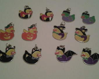 Rubber Duckie Halloween Enameled Charms