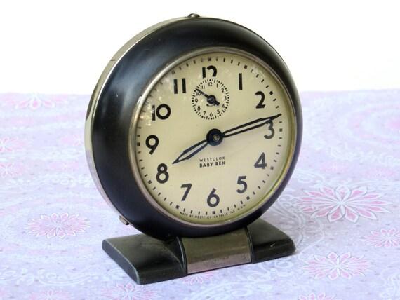 1940s Westclox Baby Ben Style 5 Alarm Clock Gunmetal With