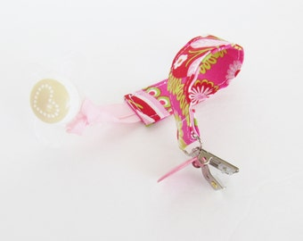 Pacifier Clip, Binky Clip, Pink and Green Paisley, Michael Miller