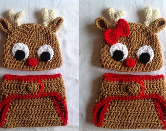 Christmas Baby Crochet Hat and Diaper Cover - Rudolph. Reindeer Hat