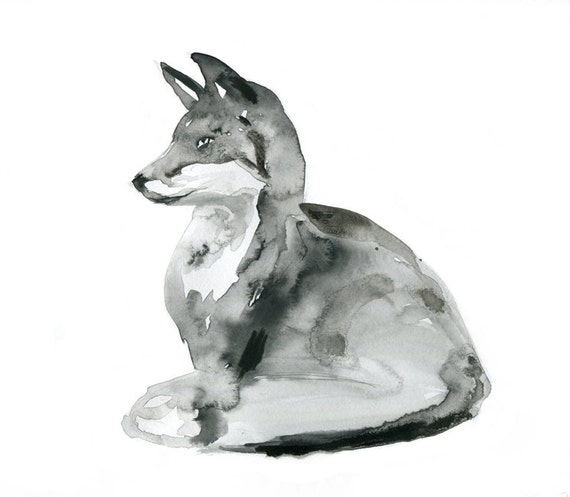 Original Fox Watercolor and Ink Painting. Aquarelle Fox Zen