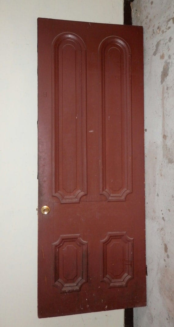 Sale tall antique salvage front door solid wood four for Solid wood exterior doors for sale