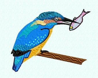 Embroidery pattern - kingfisher with fish