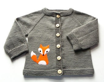 Fox sweater knitted baby jacket dark gray sweater merino wool baby fox cardigan Made to Order
