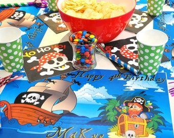Personalized Paper Placemats - Pirate lover of the Seas! Placemats for Pirate Party.