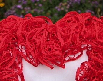 Red Ruffled Scarf - Premier Yarns Starbella - Red