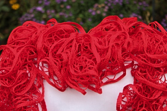 Knit Ruffle Scarf Pattern Starbella : Red Ruffled Scarf Premier Yarns Starbella Red