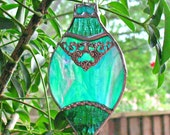 Green stained glass vintage looking Christmas ornament, victorian decor, holiday window hanging suncatcher, gift for her, tree ornament.