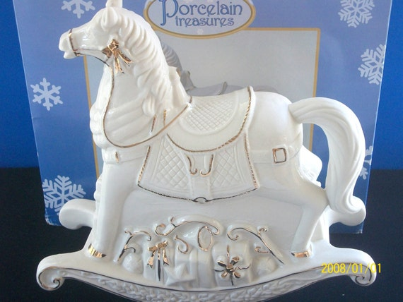 Vintage Porcelain Rocking Horse Christmas Musical Porcelain