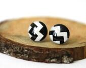Black and White Chevron Earrings, Chevron Studs, Chevron Posts