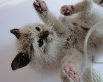This is now SOLD...needle felted cat called Kitty