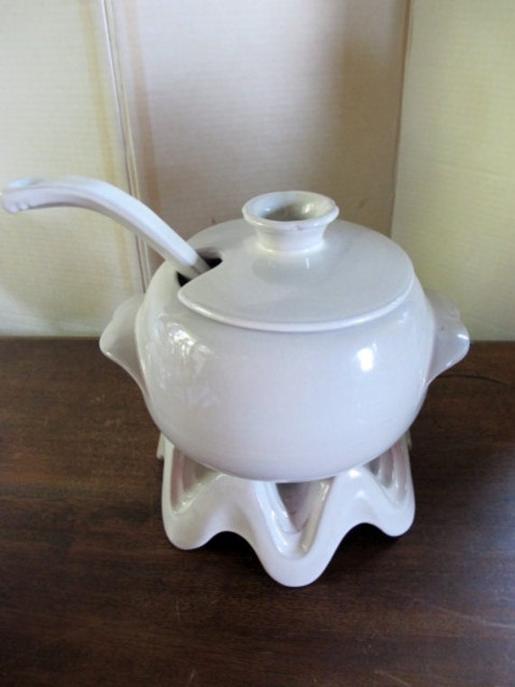 Vintage Frankoma Bowl Soup Tureen  Base Lid   White Ladle Spectacular White Frankoma