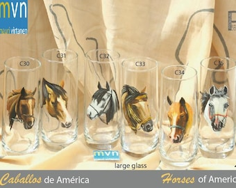 Horses of America, set of horse glasses, hand painted horse glassware, kitchenware