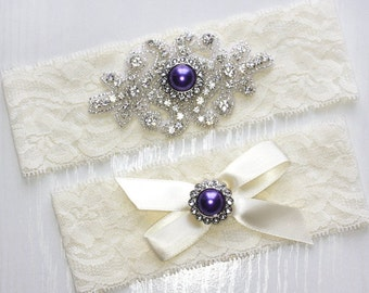 RACHEL - Purple Pearl Wedding Garter Set, Wedding Stretch Lace Garter, Rhinestone Crystal Bridal Garters