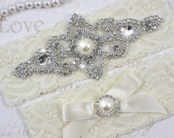 SALE - Best Seller - CHLOE II - Ivory Pearls Wedding Garter Set, Wedding Lace Garter, Rhinestone Crystal Bridal Garters