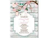Wood Mason Jar & Love Birds Wedding Invitation White Wash Wood DIY PRINTABLE Digital File or Print (extra)