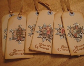 Vintage Christmas Gift Tags, Vintage Holiday Gift Tags, Gift Tags