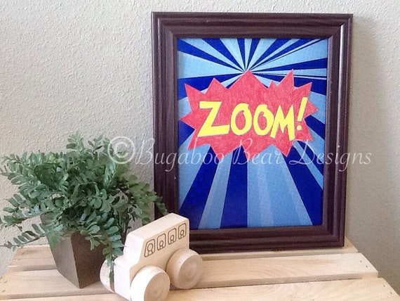Zoom Superhero Wall Art, Nursery Art, boy's room, Superheroes