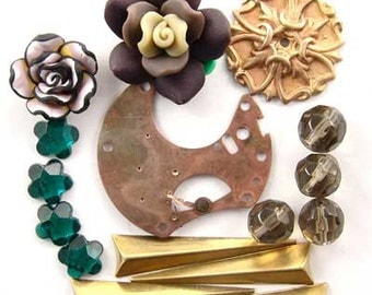 Steampunk Pocket Watch Part, Brass, Fimo Flower, Smoky Quartz, Glass, Enchanted Flower Garden Bead Set16937