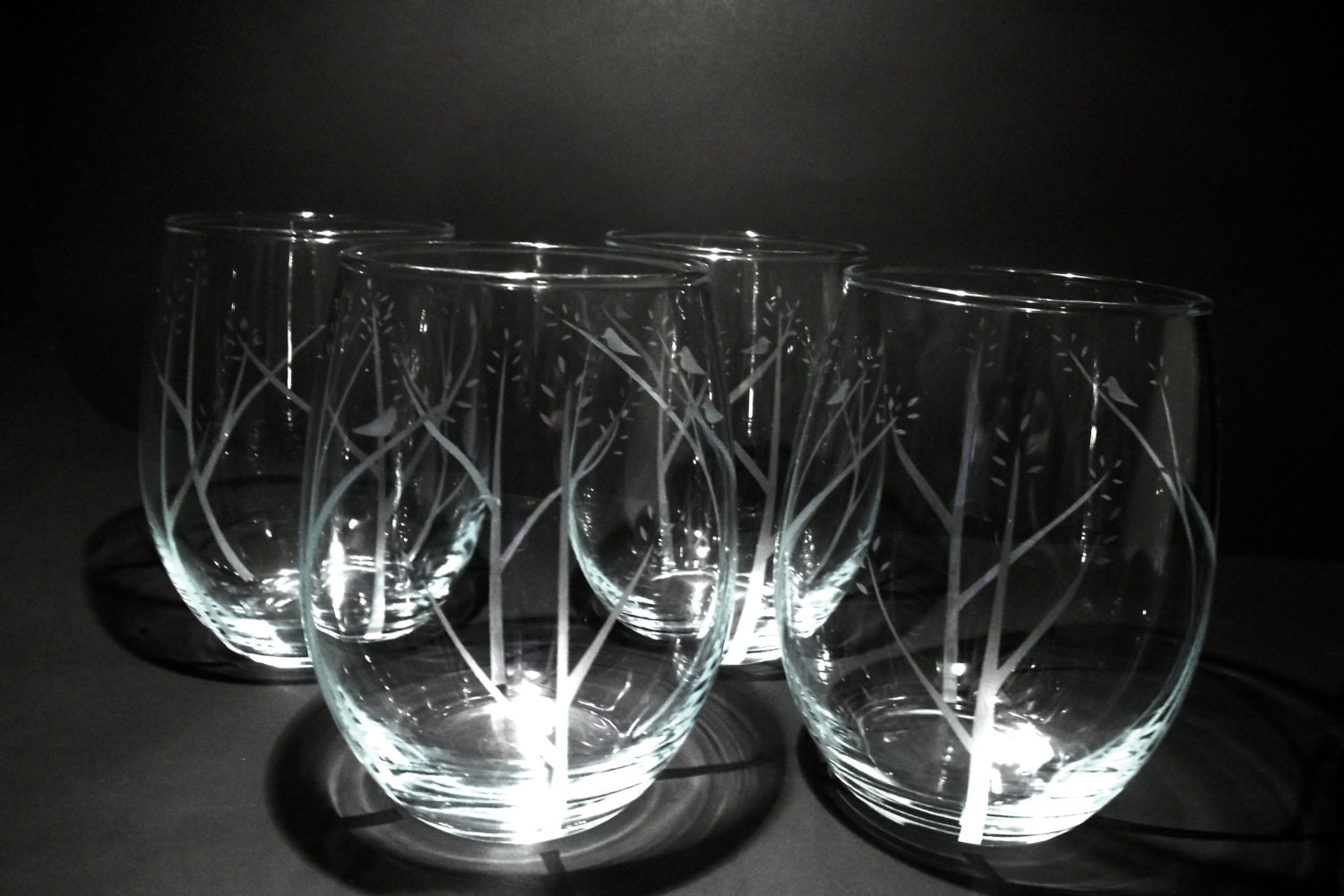 Etched stemless wine glasses wedding gift birds in trees for Etched glass wedding gifts