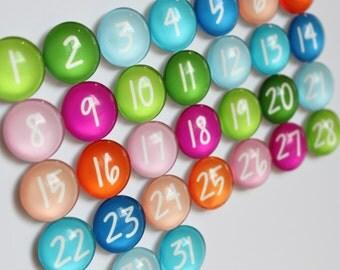 Number magnets - 31 Calendar Number Glass Magnets