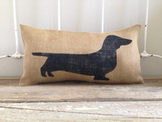 Burlap Pillow Wiener Dog Dachshund Burlap By Twopeachesdesign