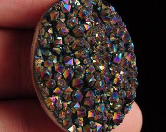 g1588  30mm Drusy druzy crystal AB rainbow titanium oval cab cabochon