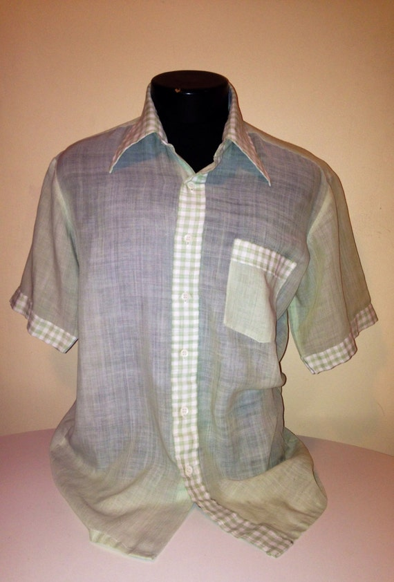 Vintage 50s mens lightweight mint green by for Mens green gingham dress shirt